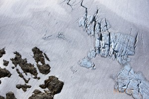 Crevasses can be seen on a mountain glacier above the Great Bear Rainforest in British Columbia, Canada.