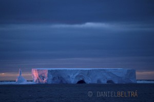 An iceberg from Antarctica float through the Ross Sea in the Southern Ocean.