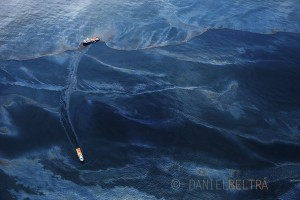 Oil covers the surface of the Gulf of Mexico on the vicinity of BP's Deepwater Horizon spill source.