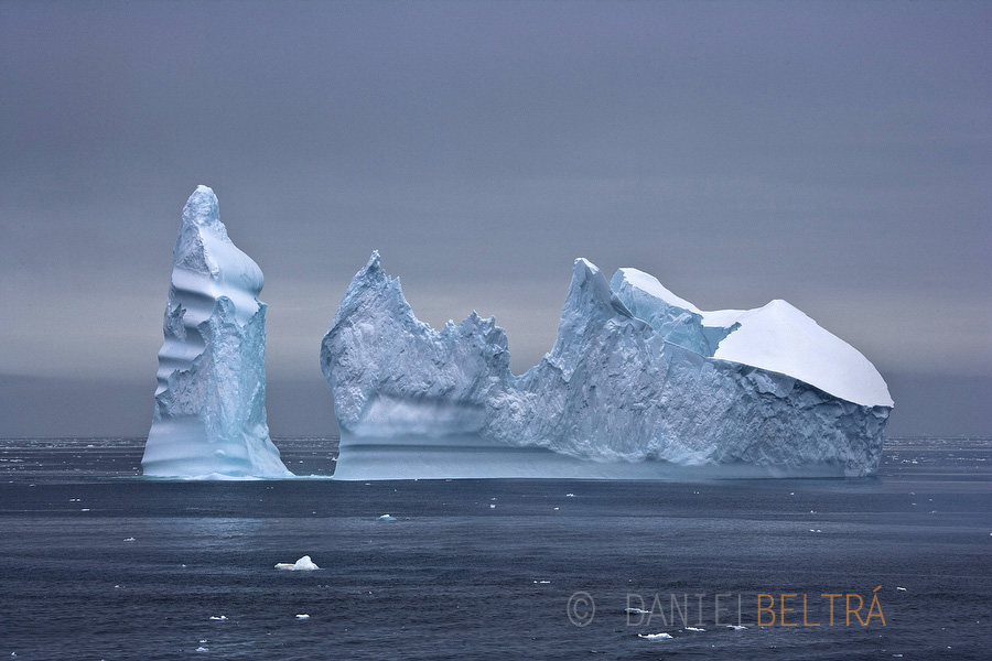 A pinnacle iceberg floats through the Ross Sea off Antarctica.