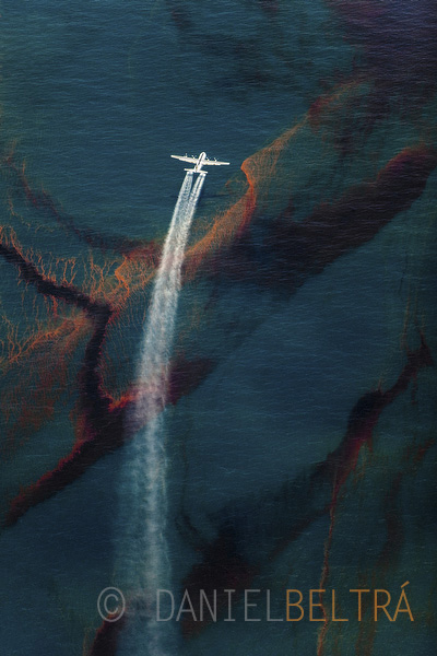 A C-130 plane sprays dispersant on oil leaked from the Deepwater Horizon wellhead in the Gulf of Mexico. On May 20th, the Environmental Protection Agency told BP to find a dispersant less toxic than Corexit. Coast Guard overlooked the EPA, and granted BP