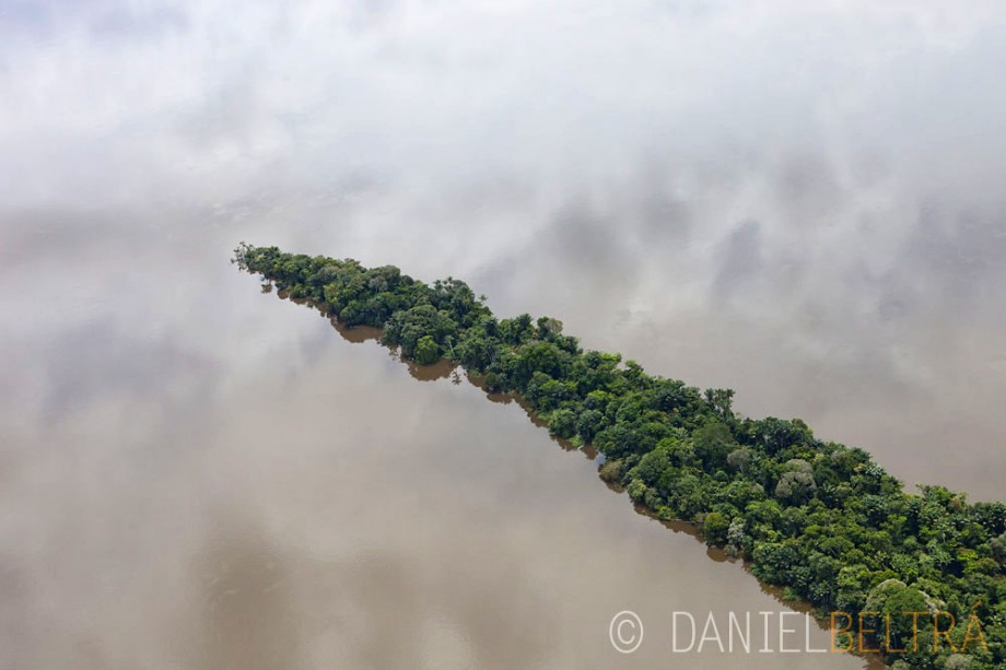 Peninsula of rainforest in the Tapajos River south of Santarem Brazil.